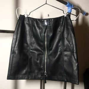 H&M Faux Leather Zip Front Skirt